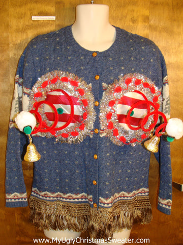 Blue Festive 2sided Ugly Christmas Naughty Sweater Cardigan
