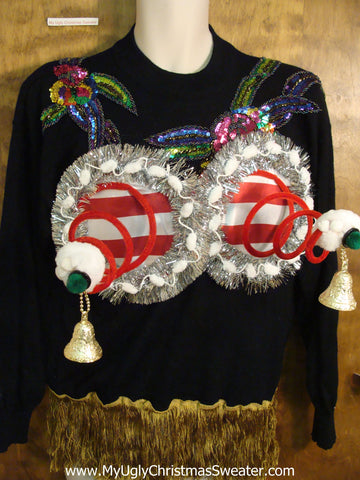 Bling 80s Mess Tacky Xmas Sweater with Funny Boobs