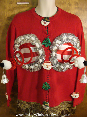 Red Corny Ugly Xmas Jumper Naughty Sweater Cardigan