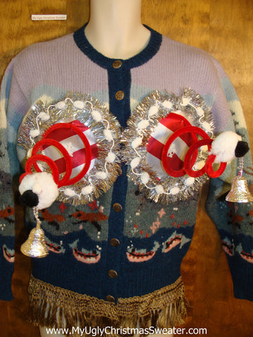 Outdoors Theme Funny Ugly Xmas Naughty Sweater Cardigan