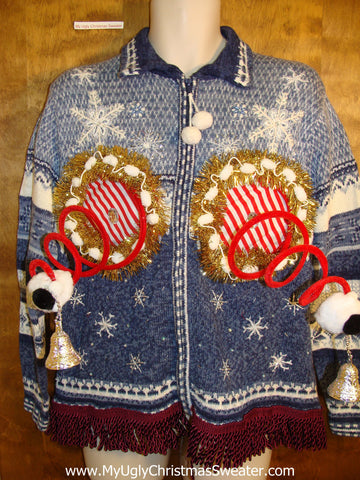 Snowflake Blue Ugly Christmas Jumper Naughty Sweater