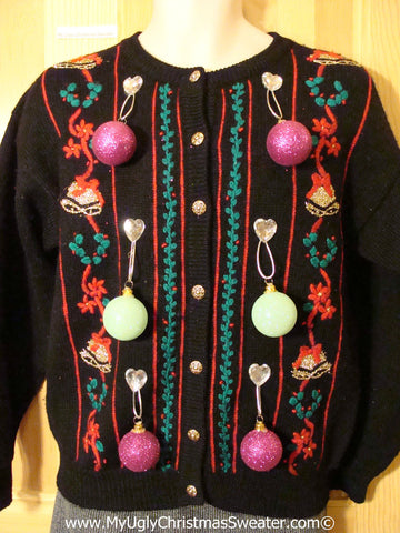 Ugly Christmas Sweater Party Holy Grail of Ugly Sweater with Real 3D Dangling Ornaments (z23)