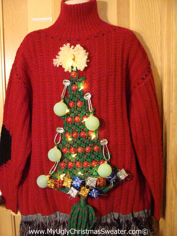 Ugly Christmas Sweater Party Holy Grail of Ugly Sweater with 3D Macrame Tree with Lights, Ornaments, and Gifts (z25)