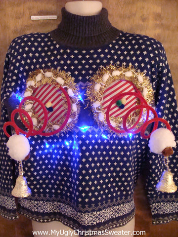 Nordic Two Sided Snowy Christmas Sweater with Naughty Boobs