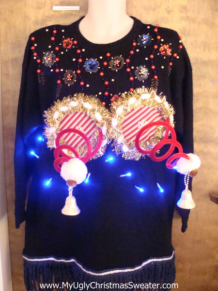 Corny 80s Bling Sweater with Naughty Xmas Decorations