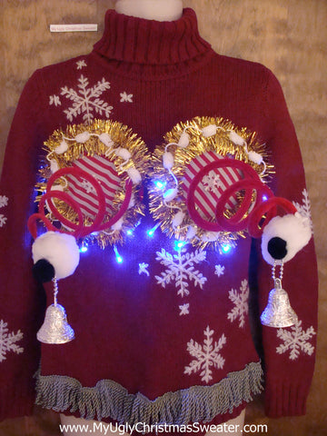 Red Tneck Light Up Ugly Christmas Sweater with Naughty Bits