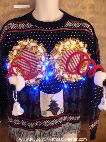 Holiday Light Up Ugly Christmas Jumper with Naughty Bits