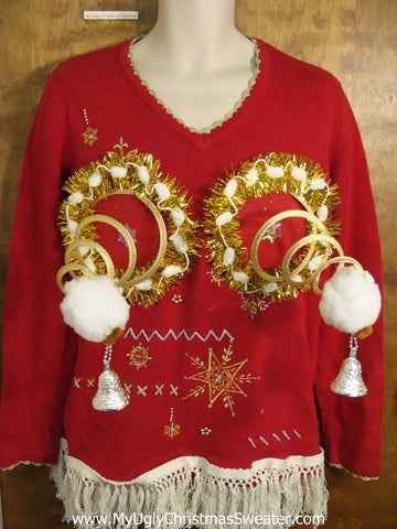 Ugly Red Naughty Christmas Sweater with Fringe