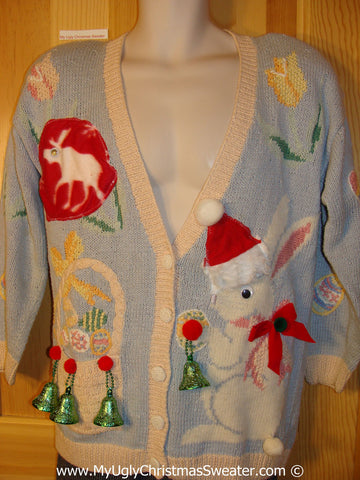 Ugly Christmas Sweater Party Holy Grail of Ugly Sweater with Santa Easter Bunny and Google Eyed Reindeer (z26)