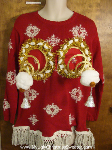 Ugly Red Christmas Jumper Naughty Sweater with Snowflakes
