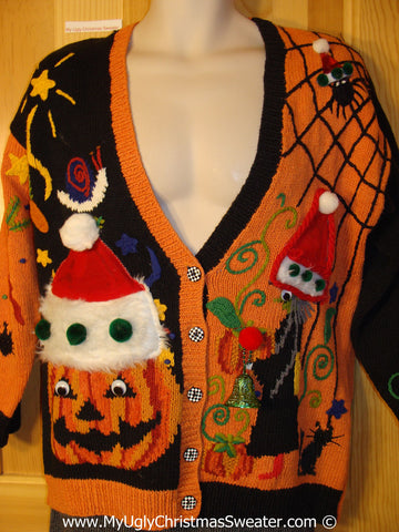 Ugly Christmas Sweater Party Holy Grail of Ugly Sweater Halloween Sweater with Santa Hats on Pumpkin and Wicked Witch (z27)