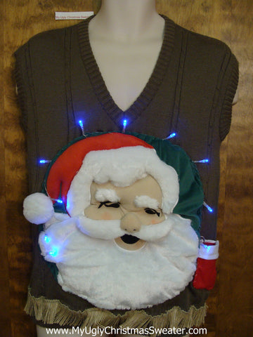 Funny 3D Ugly Christmas Sweater Mens Vest with Lights