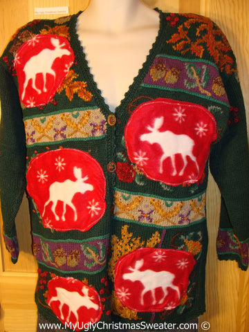 Ugly Christmas Sweater Party Holy Grail of Ugly Sweater with Reindeer (z28)