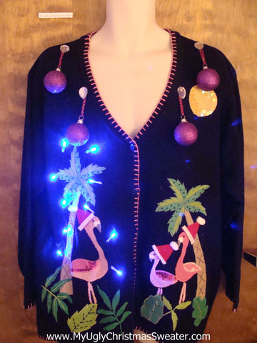 Light Up Tropical Palm Trees Ugly Christmas Sweater