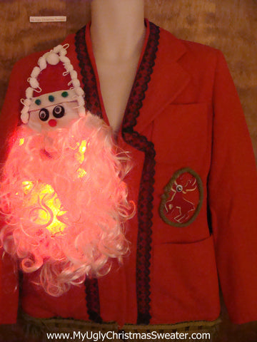 Horrible Light Up Santa Ugly Christmas Jacket Womens 10/12