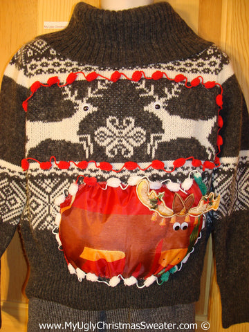 Ugly Christmas Sweater Party Holy Grail of Ugly Sweater with Vintage Leaping Reineer and Also 3D Puffy Reindeer on Front and Back (z30)