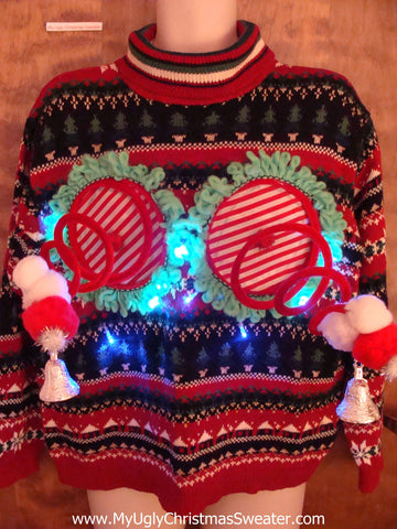 Funny Two Sided Light-up Naughty Ugly Christmas Sweater