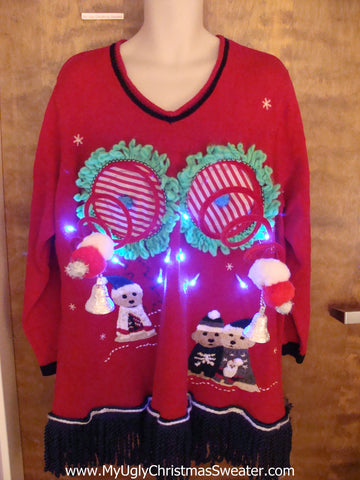 Funny Light-up Naughty Ugly Christmas Sweater with Dogs