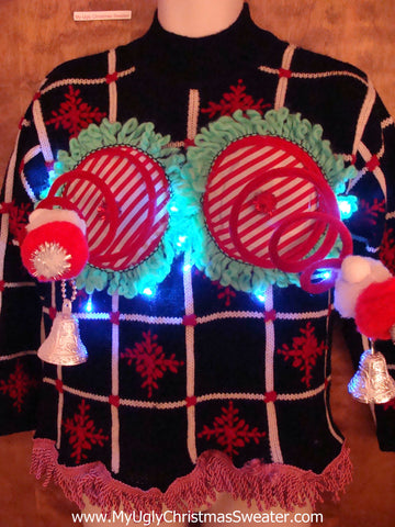 Funny Checkerboard Light-up Naughty Ugly Christmas Sweater