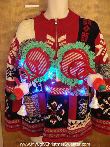 Funny Patchwork Light-up Naughty Ugly Christmas Sweater