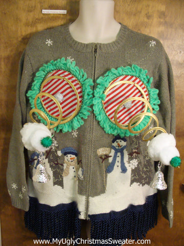 Funny Snowman Naughty Ugly Christmas Sweater