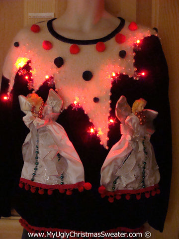 Ugly Christmas Sweater Party Holy Grail of Ugly 80s Sweater with 3D Angels with Lights (z31)