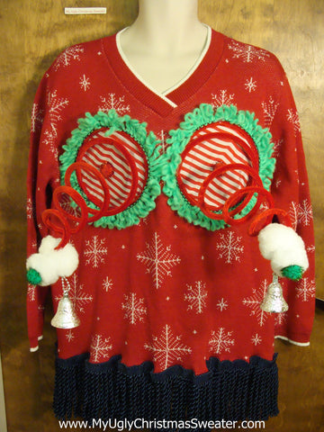 Funny 2sided Red Naughty Ugly Christmas Sweater