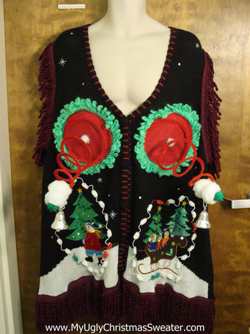 BEST Naughty Ugly Christmas Sweater Vest with Fringe on Arms