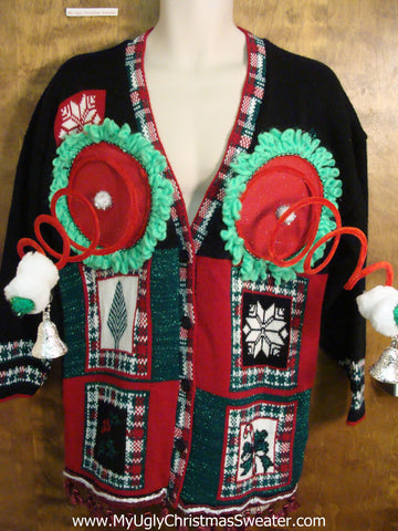 Funny Naughty Christmas Sweater with 3D Boobies