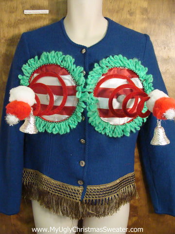 Wool Cardigan with Fringe Naughty Ugly Christmas Sweater