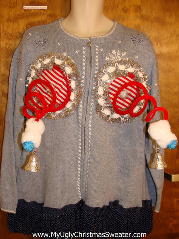 Naughty Ugly Christmas Sweater with Bling Garland