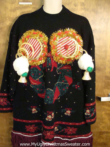 Retro 80s Acrylic Naughty Ugly Christmas Sweater