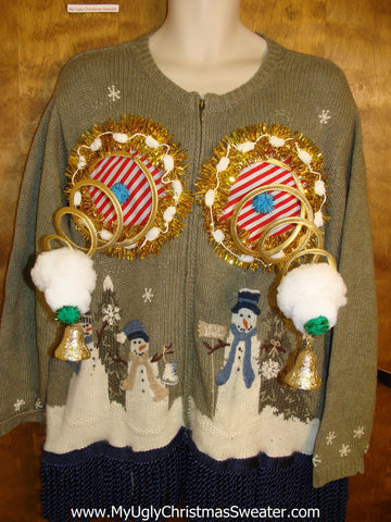 Naughty Ugly Christmas Sweater with Snowmen