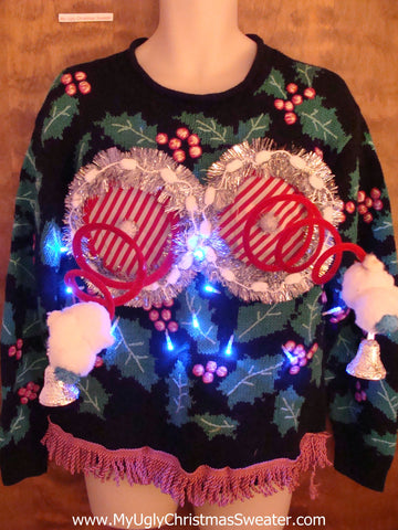 Horrible 80s Naughty Ugly Christmas Sweater with Lights