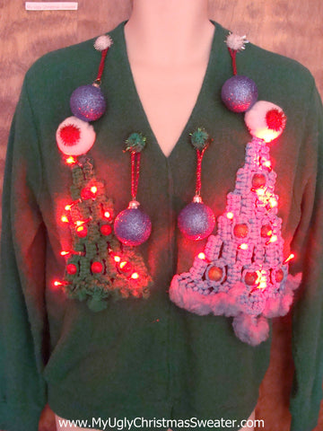 Fun Mens Horrible Ugly Christmas Sweater Macrame Tree with Lights