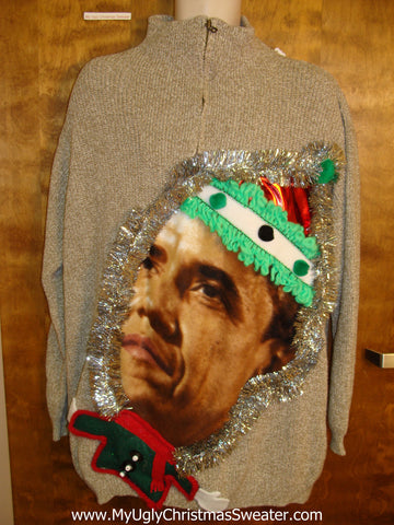 Fun Mens Festive Obama Ugly Christmas Sweater
