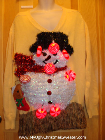Mens Funny Ugly Christmas Sweater with Lights and Music 3D