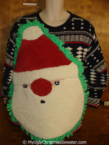 Funny Fluffy Ugly Christmas Sweater with Over The Top Decorations