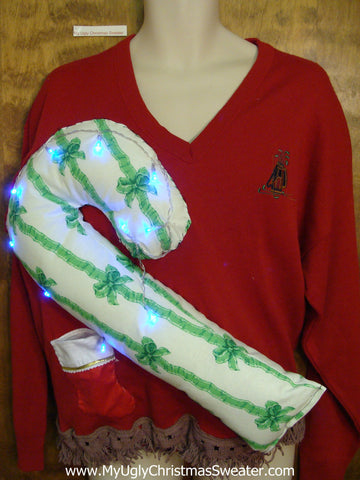 Mens Light Up Funny Christmas Sweater Huge 3D Candy Cane
