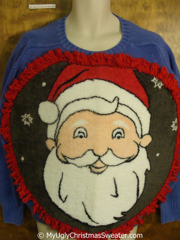 Mens Funny Fluffy Ugly Christmas Sweater with Over The Top Decorations