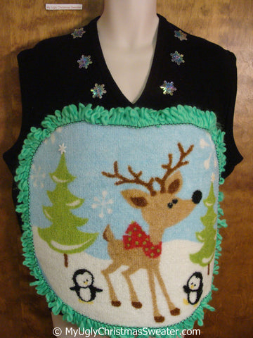 Mens Fluffy Reindeer Ugly Christmas Sweater Vest with Over The Top Decorations
