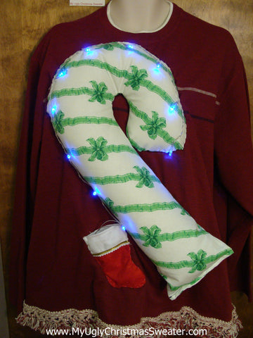 Mens XXXL Light Up Funny Christmas Sweater Huge 3D Candy Cane