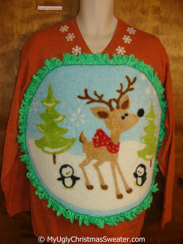 Mens Fluffy Reindeer Ugly Christmas Sweater with Over The Top Decorations