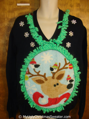 Mens Vneck Pullover with Fluffy Reindeer and Lime Green Trim