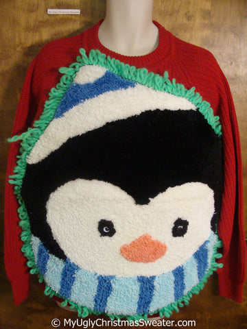 Mens Funny Pullover with Huge Fluffy Penguin