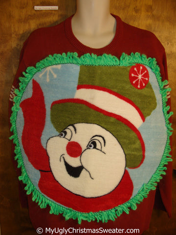 Mens Funny Fluffy Happy Snowman with Green Trim