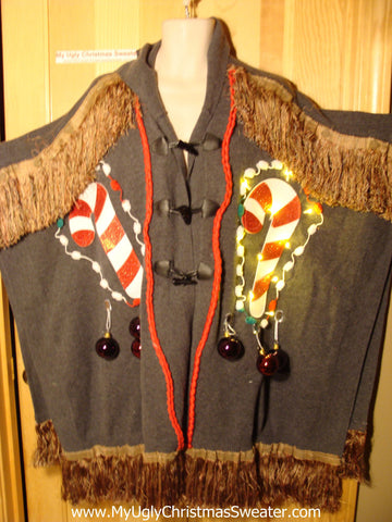 Ugly Christmas Sweater Party Holy Grail of Ugly Sweater Poncho with Lights & Massive Fringe Great Sweater Alternative for Mens XL, XXL or Mens XXXL  (z3)