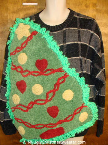 Funny Black and Grey Ugly Christmas Sweater with Oversized Tree