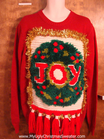 Best Ugly Christmas Sweater Ever JOY Hookrug