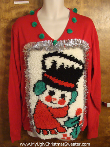 Vintage Snowman Hook Rug Best Ugly Christmas Sweater